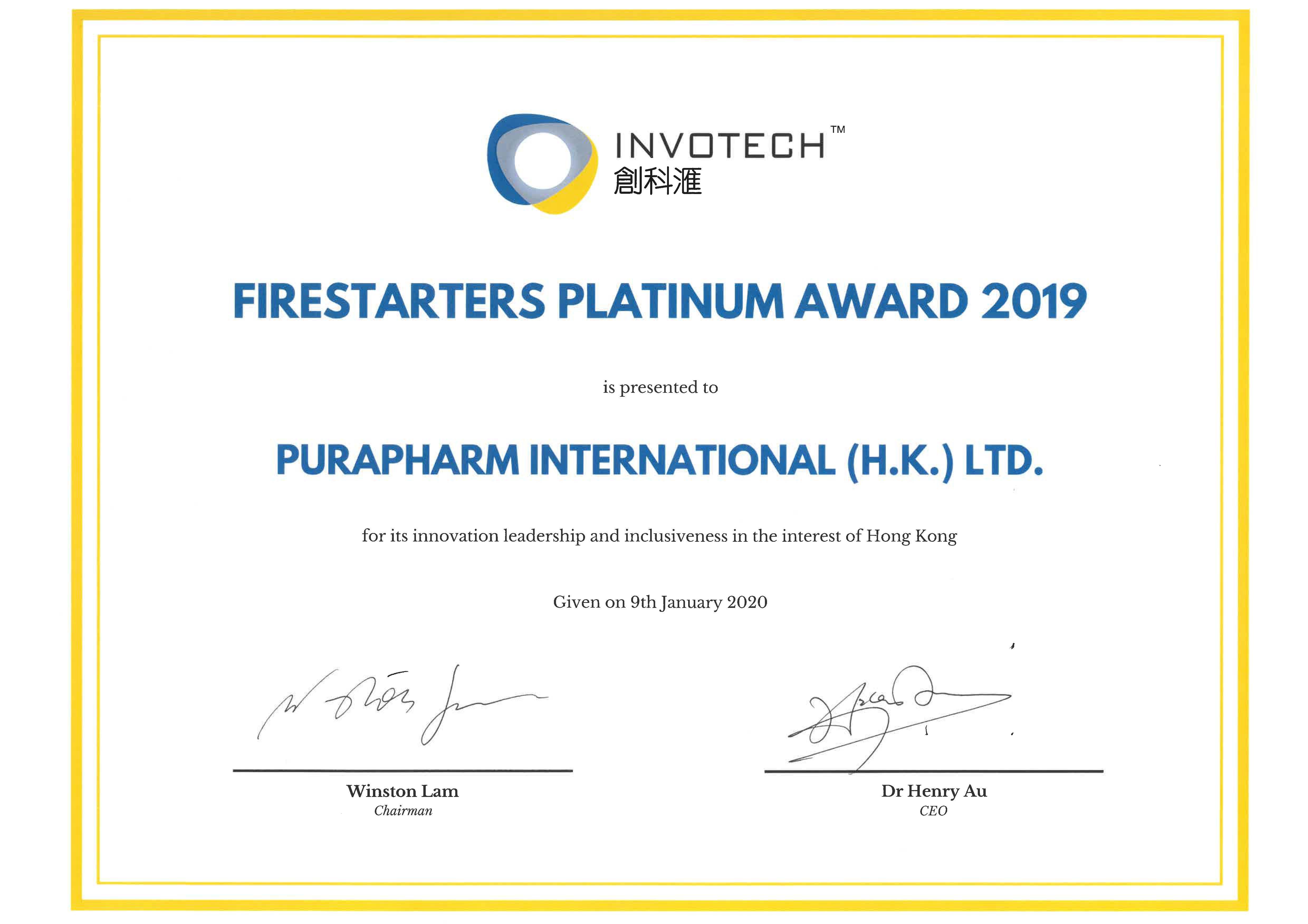 2020-01-09 Firestarters Platinum Innovation Award 2019 - certificate
